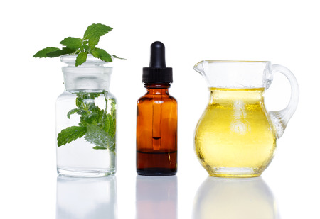 25758840 - herbal medicine dropper bottle with mint water with oil