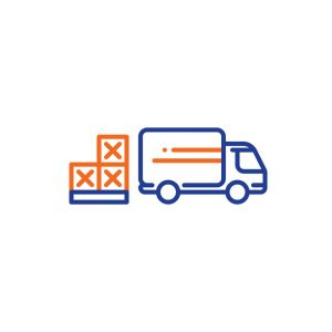 Delivery truck services, pallet boxes transportation, shipping and relocation, logistics company, mono line vector icons